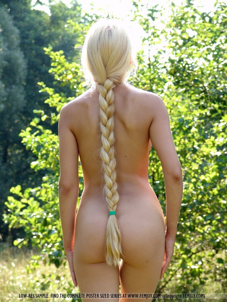 Nude women long hair braid