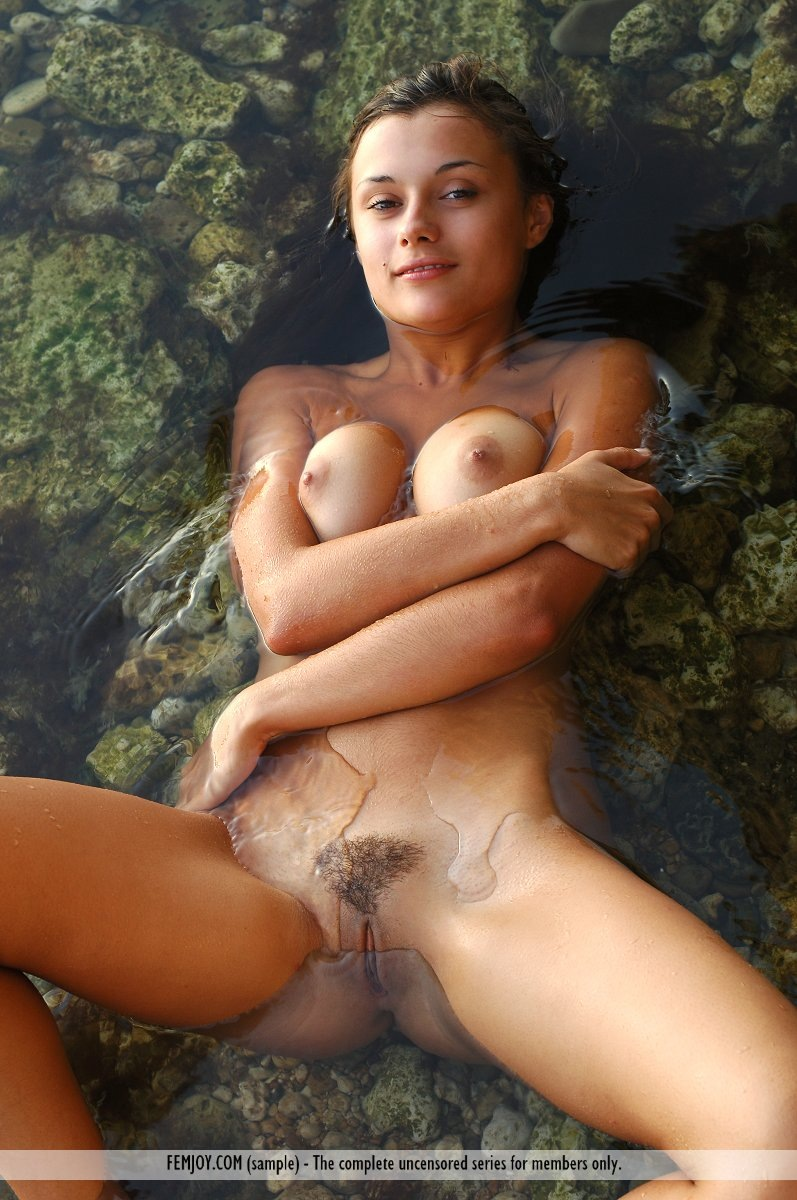 Dripping discharge nude bathing