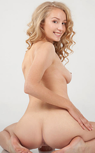 FEMJOY Pure Nudes Angel C. Curly Hair Blonde in refreshing, playful nudes that make a voyeur's delight, so perfectly captured by Ulyana, full 16 photos gallery @FEMJOY, selected by Erotikom for You