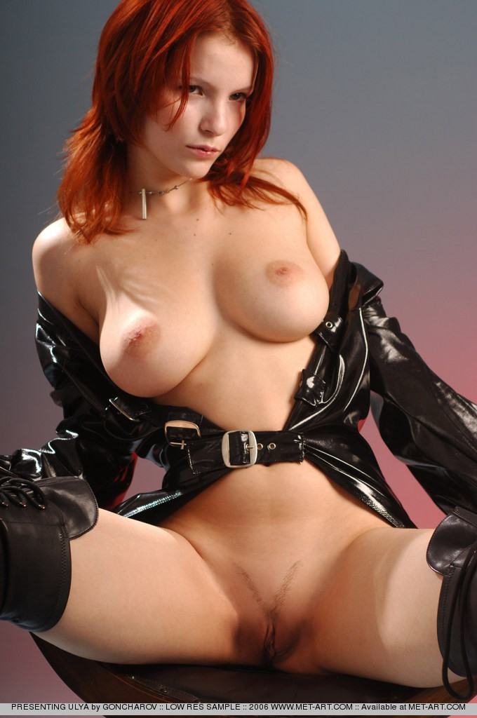 Very hot redhead mistress in leather whipping tied up slave 9