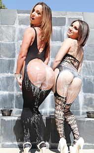 Evil Angel's Gabriella Paltrova and Jada Stevens get dirty and lubricated with cream over their butts